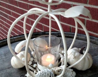 White pumpkin candle holder, center pieces. Fall decor. FREE SHIPPING!! Item# 82216