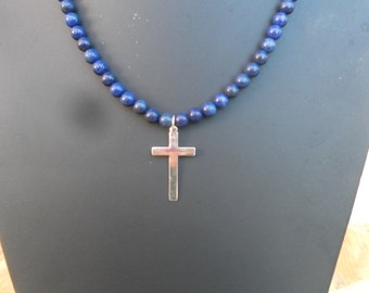 Rosary cross in silver and lapis lazuli