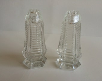 Clear Cut Zipper Pattern Crystal Salt and Pepper Shakers