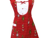 Grinch Christmas Apron, Green Grinch Apron, Red Womens Holiday Apron, Grinch Hot Pad, 100% Proceeds to Womens Charity in Mexico