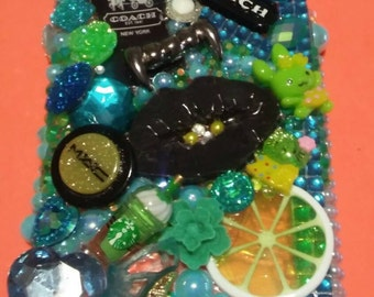 Teal,green,black and white rhinestone embellished iphone6 plus case