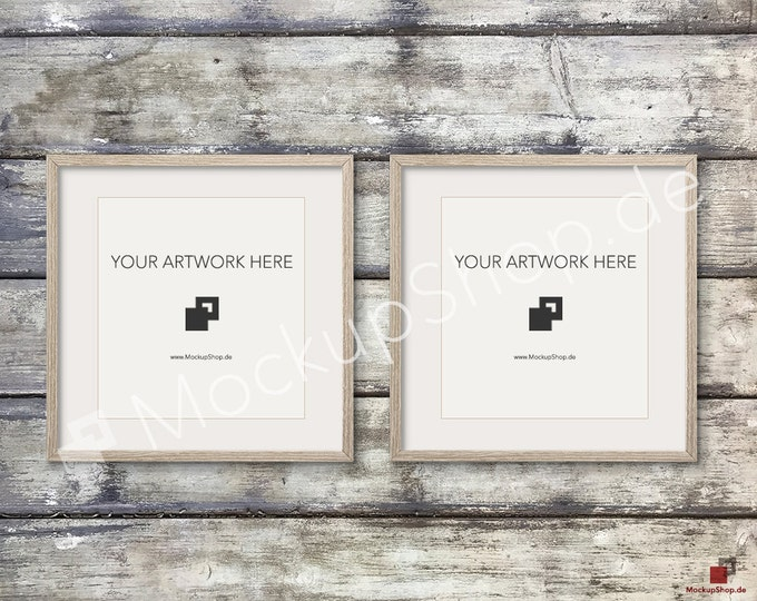 Set of 2 SQUARE MOCKUP FRAME on old wooden wall, Frame Mockup, Amazing brown photo frame mockup, Digital Download