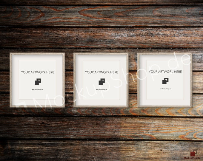 Set of 3 SQUARE MOCKUP FRAME on old dark wooden wall, Frame Mockup, Amazing brown photo frame mockup, Digital Download
