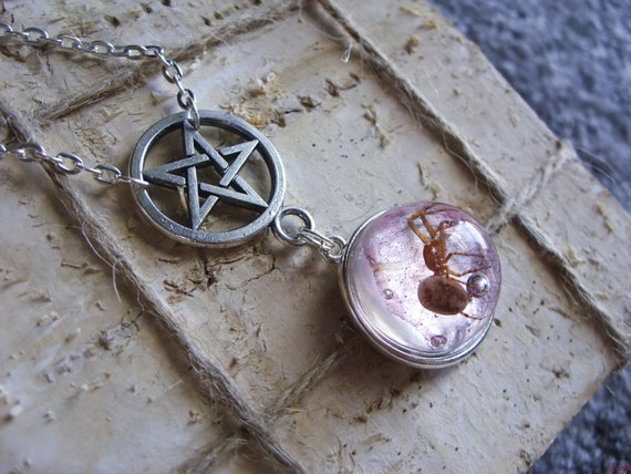 Pentagram necklace with real spider in resin
