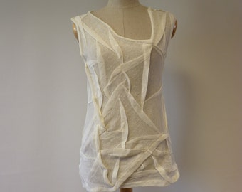 Delicate transparent off-white linen top, M size. One-of-a-kind. Sexy look, perfect for Summer.