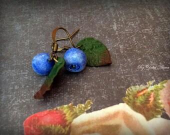 Blueberry jewelry, Blueberry earrings,  Blue berries, Berry earrings, Small earrings, Forest earrings, Jewelry with berries, Berry Jewelry