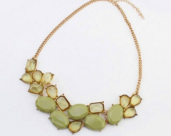Green Crystals and Gemstones Necklace
