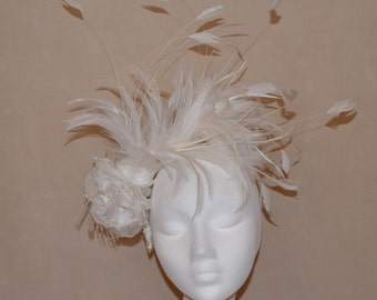 Bridal feather and flower hairband