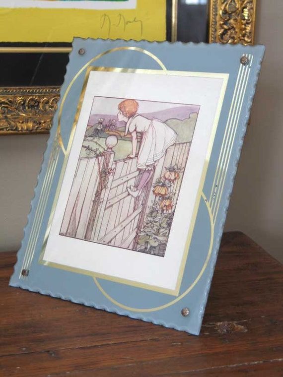 Art Deco Reverse Painted Glass Picture Frame Grey And Gold