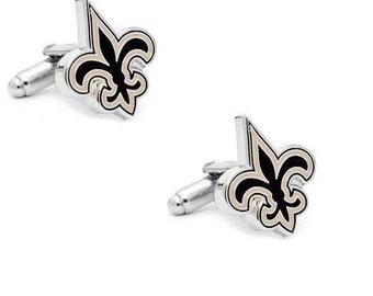 New Orleans Saints Style Cufflinks Cuff Links Best man Groomsmen Wedding Gift Father's Day Graduation Dad Birthday Football
