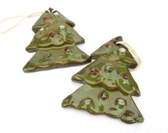 Pair of Christmas Tree Ornaments, Green Tree Ornaments, Ceramic Tree Ornaments, Pottery Baubles, Pottery Holidays, Ready to Ship