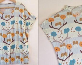 Marimekko Blue Orange Floral Cotton Top Sleeveless Size XL Finnish Design Scandinavian