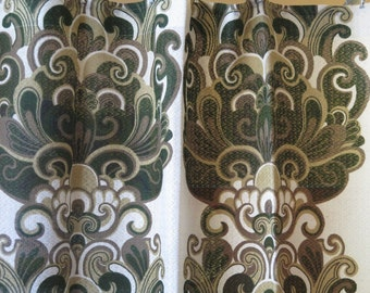Set of 2 Vintage Long Curtains, each: L 212 x W 130 cm / L 83,4'' x W 51,1'' Olive Green Brown Green Curtains, Scandinavian Design #2-14