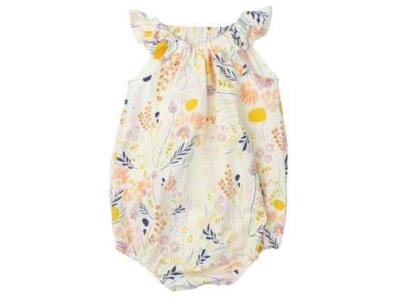 Baby Romper Toddler Romper Wild Flower Baby Romper Mustard Floral Romper Modern Baby Romper Flutter Sleeve Romper Knit Romper