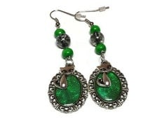 Cat Lovers Green Dangle Earrings