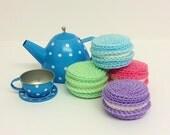 Play Food Crochet Macarons Set of 4, Gift, Amigurumi