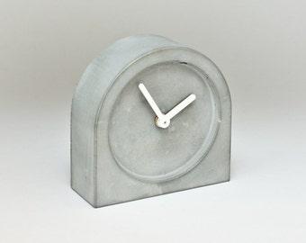 Concrete clock #1355, minimalist clock for a modern desk, loft, industrial, brutalist