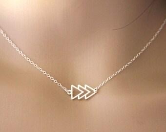 Geometric Silver necklace 3 triangles - minimalist nekclace - ethnic necklace - fine silver necklace - silver choker - geometric jewelry