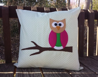 Owl appliqued pillow cover