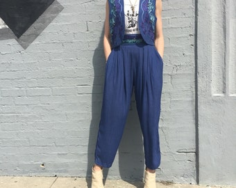 vintage 90s cache two piece harem high waist pant vest embroidered rayon summer size xxsmall
