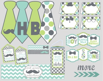 Little Man Mustasche Bash Party Decoration Package. Perfect for Little Man Birthday Party or Baby Shower. Instant Digital Download.