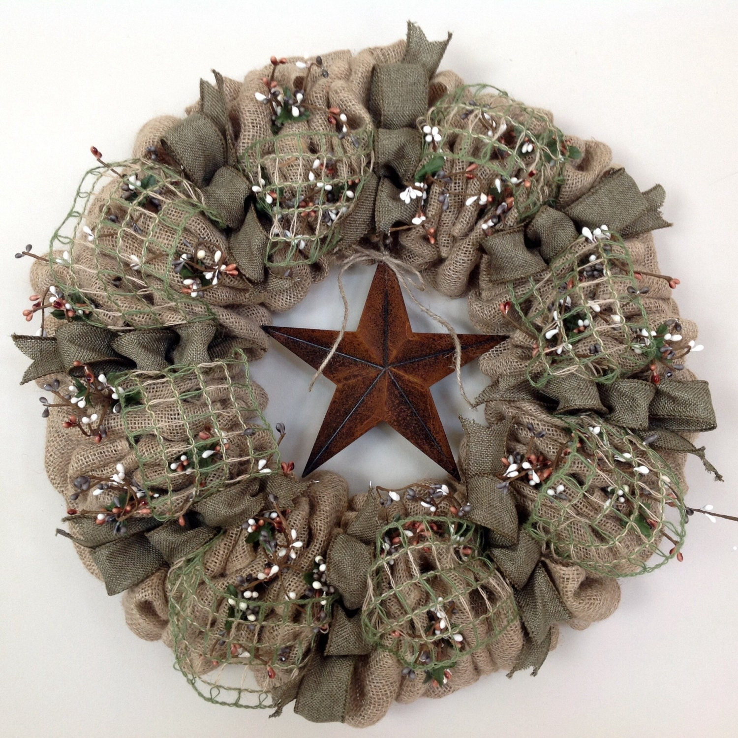 Burlap wreath primitive wreath americana by tranquilitybyaney for Burlap designs