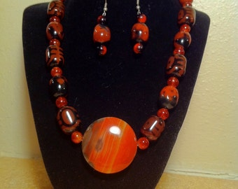 African Inspired Carnelian Necklace with Earrings