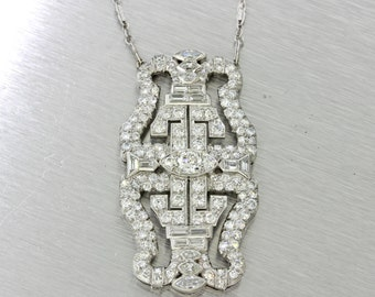 1920s Antique Art Deco Platinum 5.75ctw Diamond Pendant Necklace