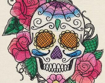 BELLA MUERTE CALAVERA Day of the Dead Dia de los Muertos Skull & Roses Machine Embroidered Quilt Square, Block, Art Panel