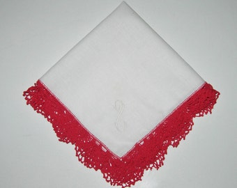 Vintage White Hankie With Red Crocheted Edge, Letter S In Corner