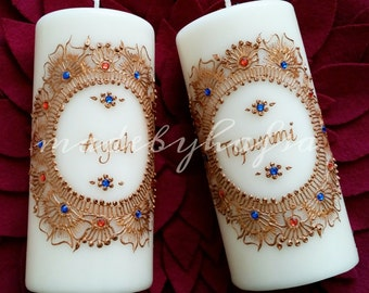 Personalised Name Candle | Henna Inspired