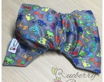 Dinosaur Cloth Diaper, One Size Diaper, Dinos,  Dinosaur Diaper, Dinosaur, Cloth Diaper, Rueberry Rumps, WAHM Diaper,