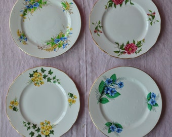 Set of Four Floral English Bone China Dessert Plates, Wildflowers, Gold Rim, Scalloped, Gainesborough, Clarence, 8 Inch