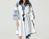 Ukrainian Vyshyvanka Vita Kin Style Dress-White