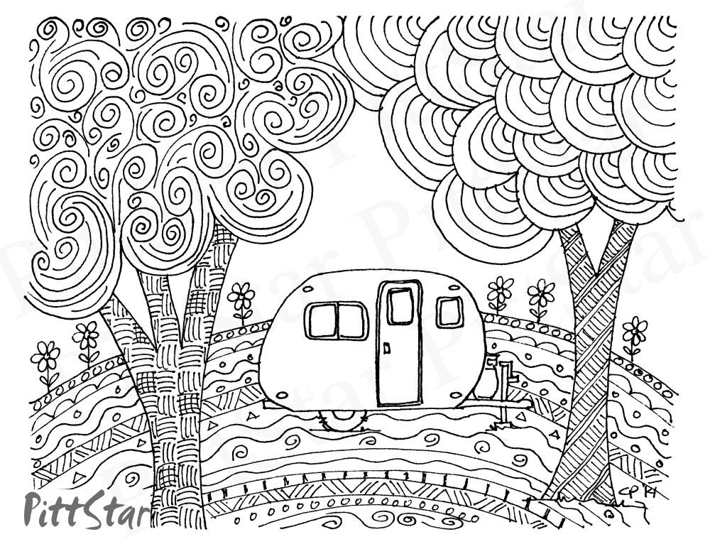classic art coloring pages   Instant Download Doodled Retro Vintage Whimsical Travel