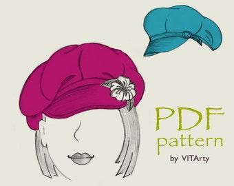 8-Panels Newsboy Hat PDF Sewing Pattern/ S, M, L  sizes/ Women's Gavroche cap/ Digital printable pattern/ Hats Sewing Project/ DIY clothing