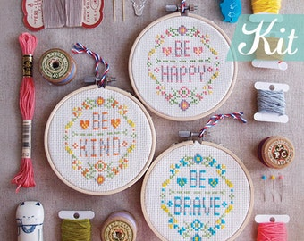 Cross Stitches, Quote Cross Stitch KITs, Modern cross stitch, Funny cross stitch sampler,Beginner kit,DIY kit -Be Happy Be Brave Be Kind
