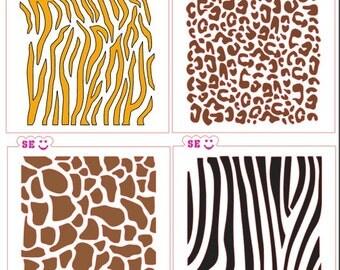 Animal Prints Backgrounds Stencils Tiger, Giraffe, Cheetah, Zebra