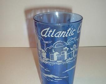Vintage Cobalt Blue Glass Atlantic City Souvenir Glass
