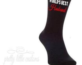 World's best husband! print mens socks - wedding/married/anniversary gift/present