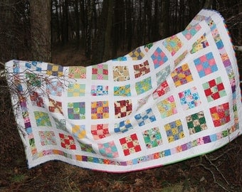 Twin Quilt, Handmade Quilted Blanket, Quilted Patchwork Quilt,  Bedding