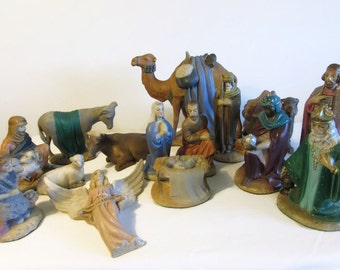 Large Chalkware Nativity Set, Nativity Set with Manger, 16 piece Nativity Set, Christmas Decor, All things Holidays