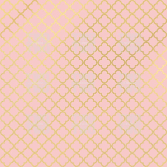 Pink And Gold Digital Paper Striped Dots Herringbone
