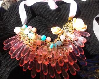 handmade vintage necklace light rose