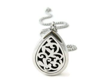 Aromatherapy Necklace Exclusively Designed Teardrop Stainless Steel Essential Oil Diffuser Locket Free Shipping