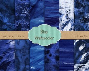 "Watercolor Digital Paper: ""Blue Watercolor"" blue digital paper, watercolor textures, scrapbooking paper, dark blue, grunge watercolor"