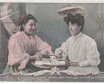 Antique Postcard,   Your Fortune Teller Gypsy Woman Reading Cards, C1910 Unused