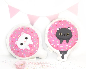 Cat pillows - handmade pink color donut cat pillow, pet pillow, cute pillow, cat lover gift, decorative pillow
