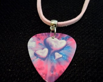 Purple and Pink Hearts Guitar Pick with Pink Suede Cord