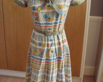1950s vintage cotton floral dress XS Small